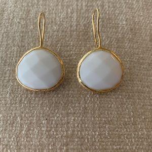 White Agate Earring